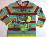 striped raglan Simpson on a skateboard