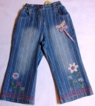 striped jeans with butterfly and flowers